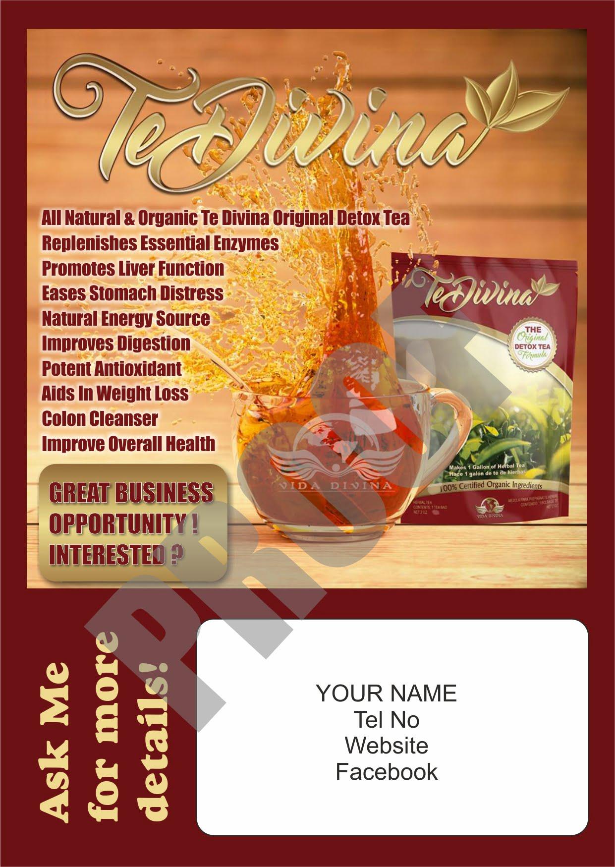 vida divina detox tea blitz cards
