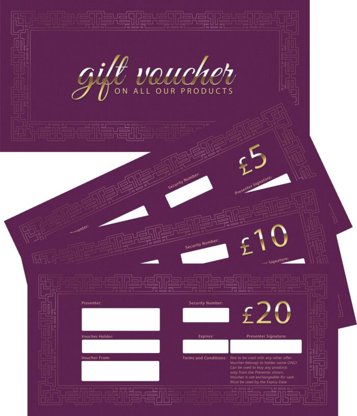 Younique Gift Vouchers (Purple) Mixed £5/£10/£20 x 5 each