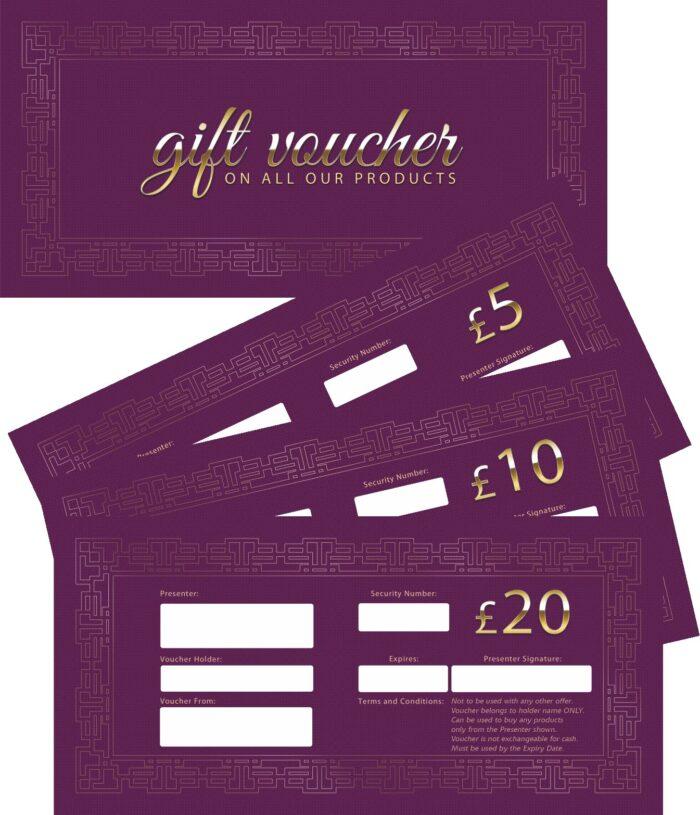Gift Vouchers (Purple) - 15 vouchers mixed £5, £10, £20