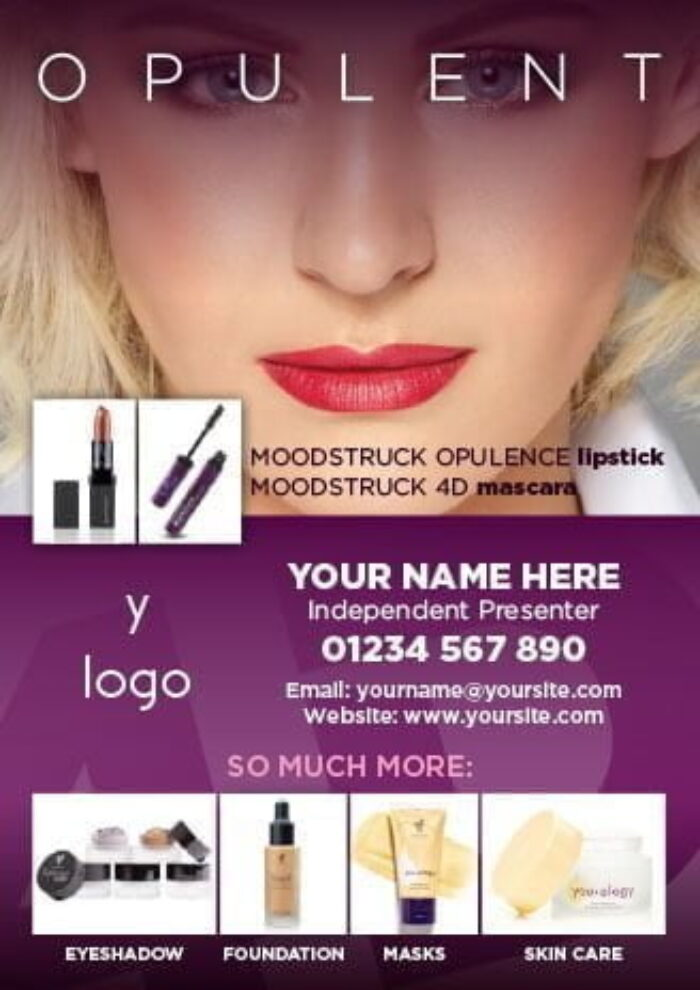 Younique Opulence Lipstick and 4D Mascara A6 Flyers (Personalised)