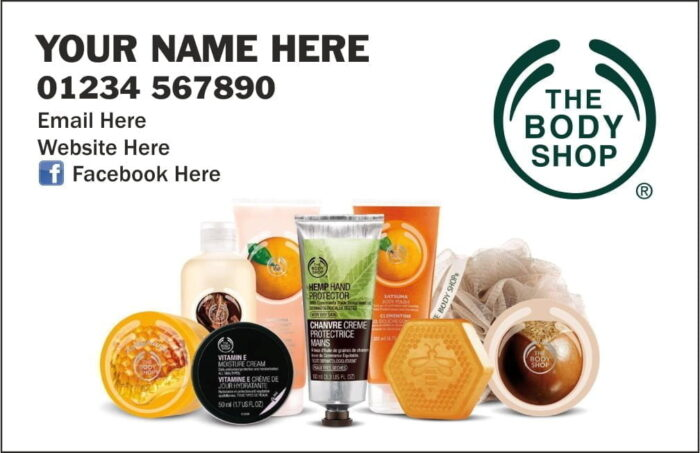 Body shop business cards Shop at home