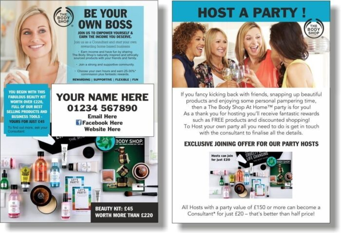 Body Shop At Home Blitz Cards (Double sided - Personalised)