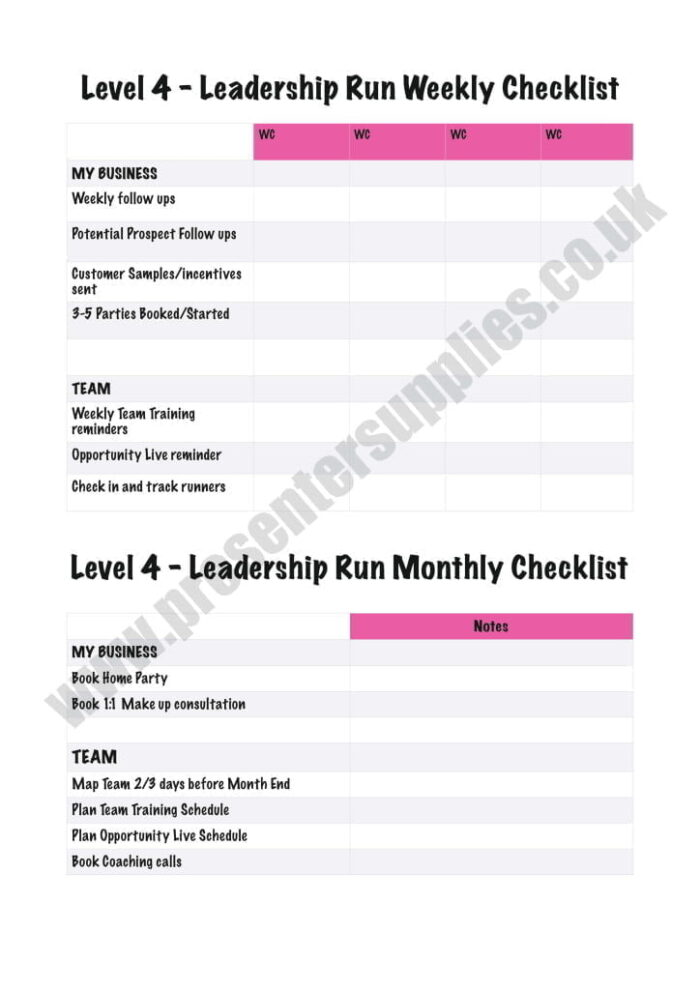 Younique Monthly Leadership DMO NoteBook