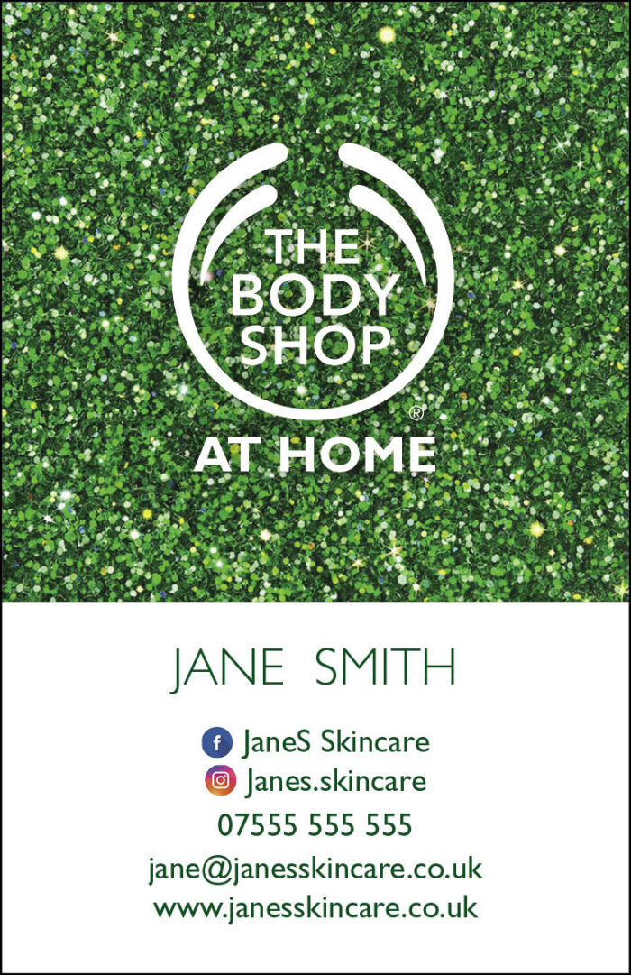 Body Shop Glitter Business Cards - Style 2 (portrait)