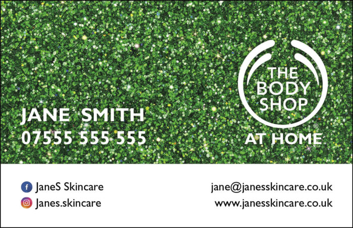 Body Shop Glitter Business Cards - Style 1