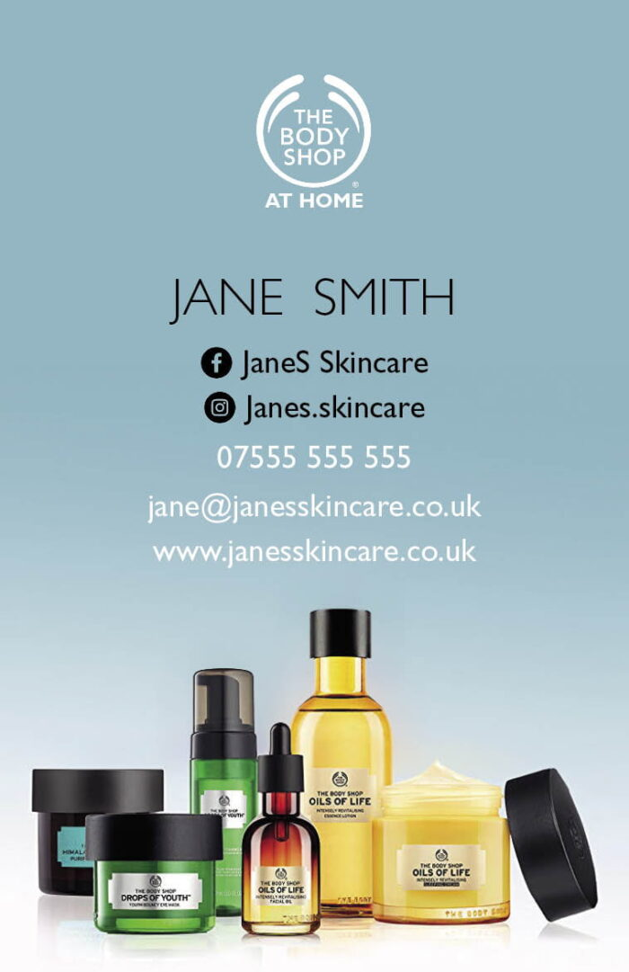 Body Shop At Home Business Cards - Skin Care