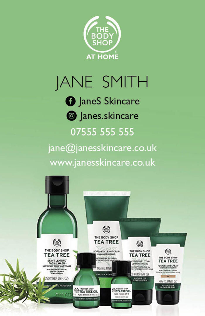 Body Shop At Home Business Cards - Tea Tree