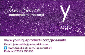 Younique Glitter Business Cards - Single sided style1