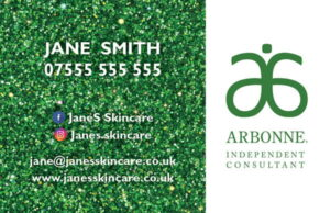 Arbonne Glitter Business Cards UK- Style 1
