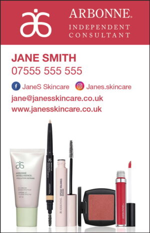 Arbonne Ready in 5 Business Cards UK (portrait)