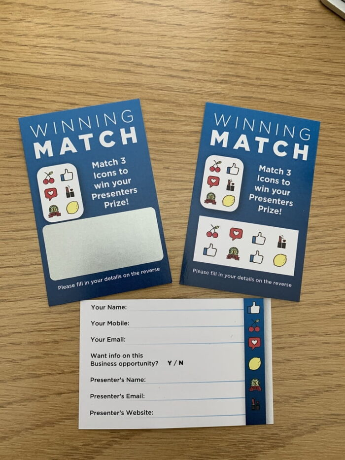 12 Scratch Cards SET (2Winners + 10 losers) party ice-breaker personalised.