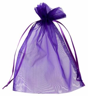 Purple SatiMesh Gift Bags draw string Large 15x20cm