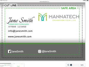 Mannatech Business card online design £6.95