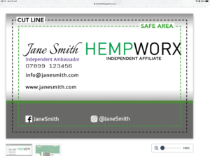 HempWorx Business card online design £6.95