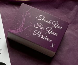 Thank You Cards x 50 Purple Matt Laminated 400gsm Premium Finish