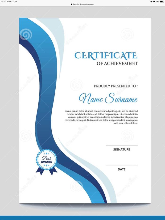 A4 Certificate of achievements