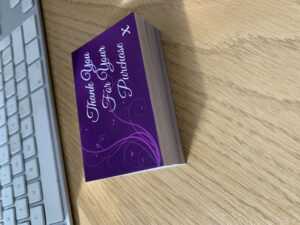 Thank You Cards x 50 cards on Purple Matt Laminated 400gsm Premium Finish