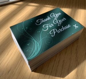 Thank You Cards x 50 cards Emerald Matt Laminated 400gsm Premium Finish