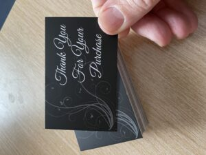 Thank You Cards x 50 Matt Black Laminated 400gsm