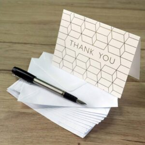 Foiled Folded 'Thank you' cards with Free Envelopes